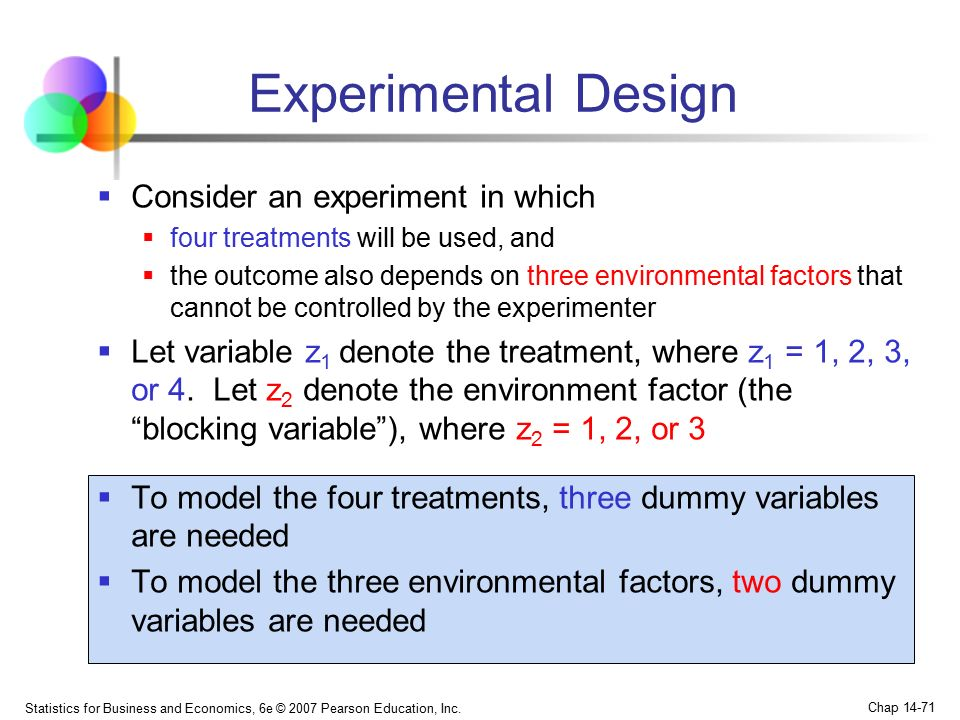 Experimental Design Consider an experiment in which
