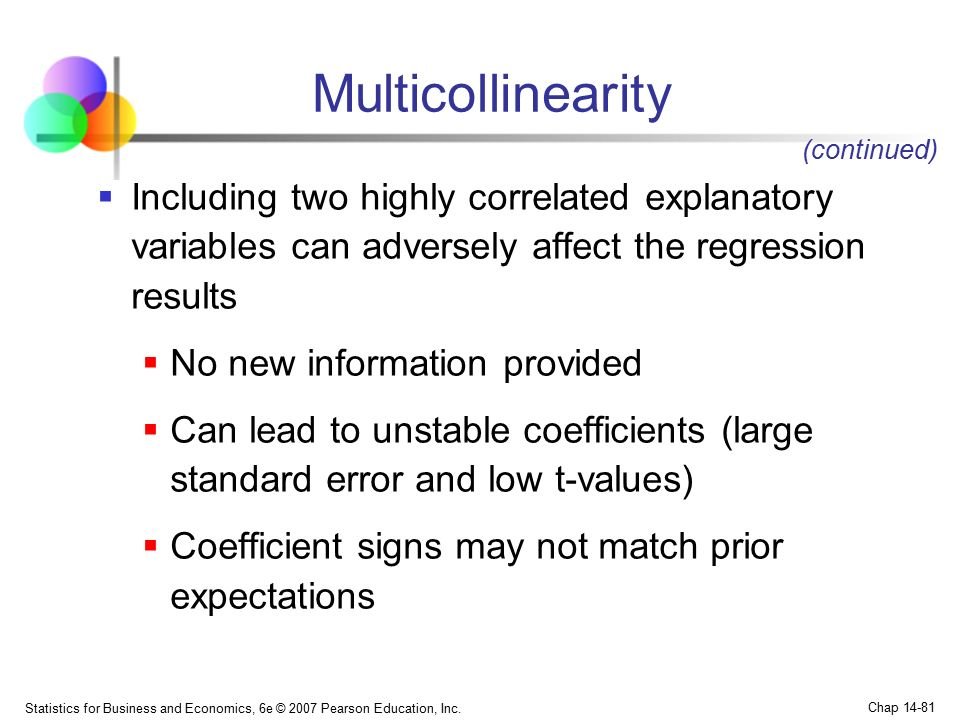 Multicollinearity (continued) Including two highly correlated explanatory variables can adversely affect the regression results.