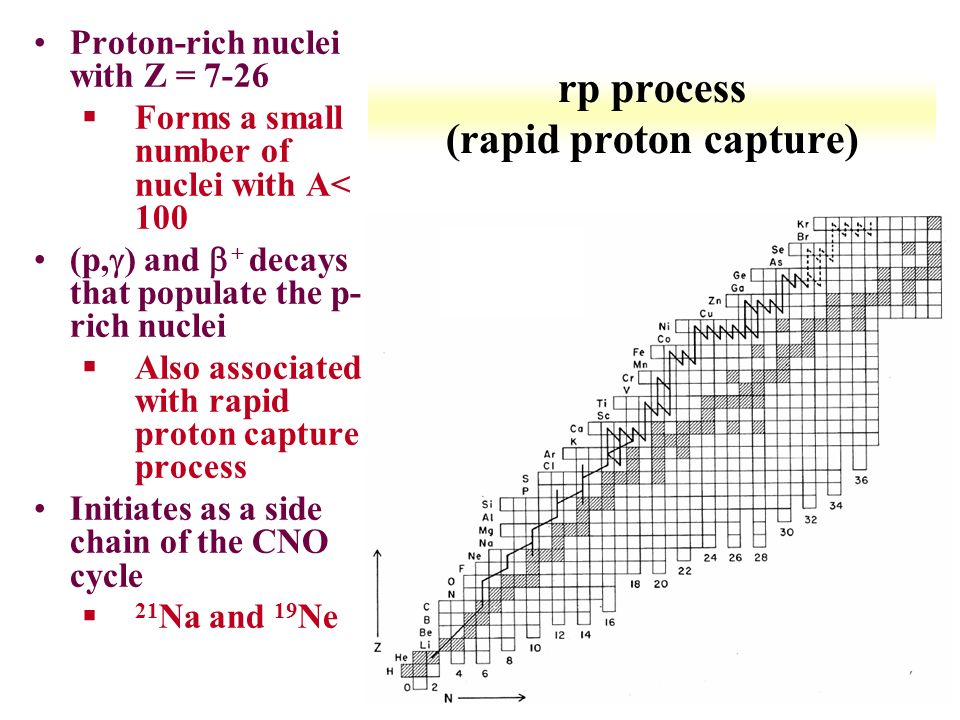 rp process nucleosynthesis Point nuclei under rp-process conditions nuclei is roughly of the same order and hence determine the time scale of the nucleosynthesis process and isotopic.