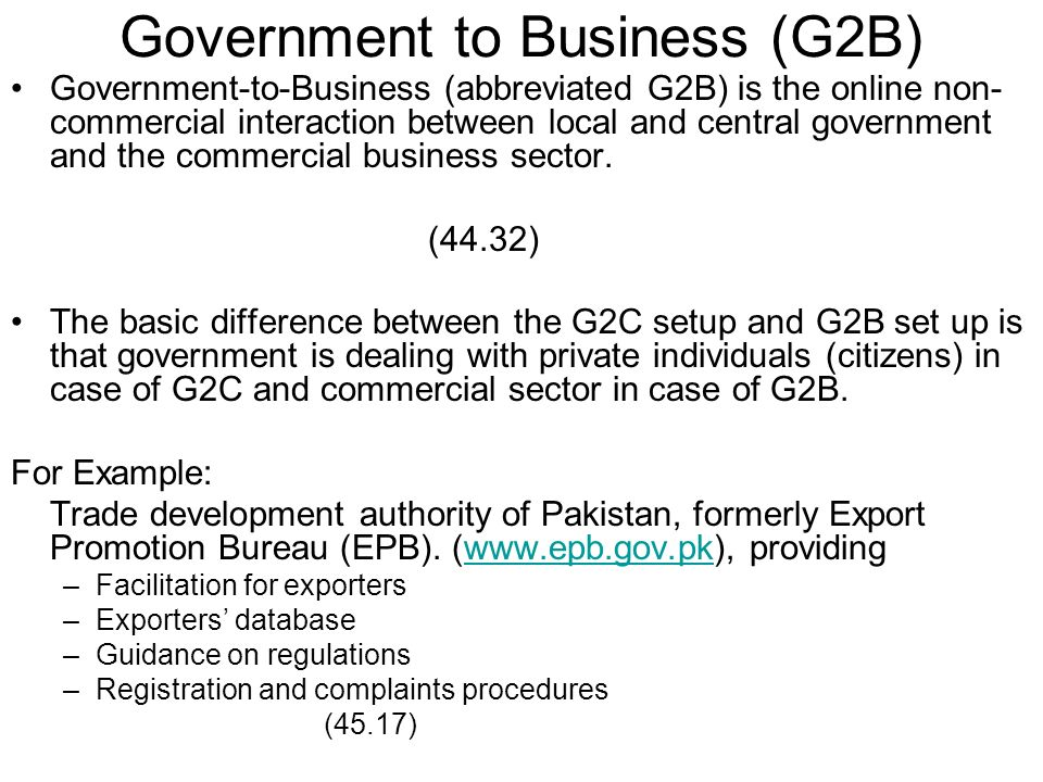 Government to Business (G2B)