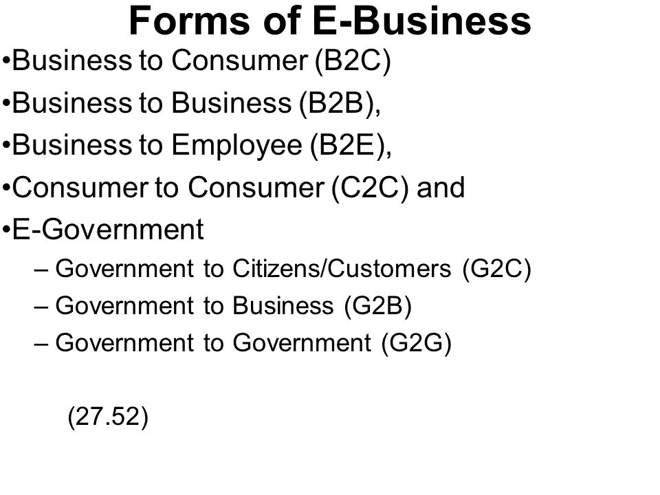 Forms of E-Business Business to Consumer (B2C)