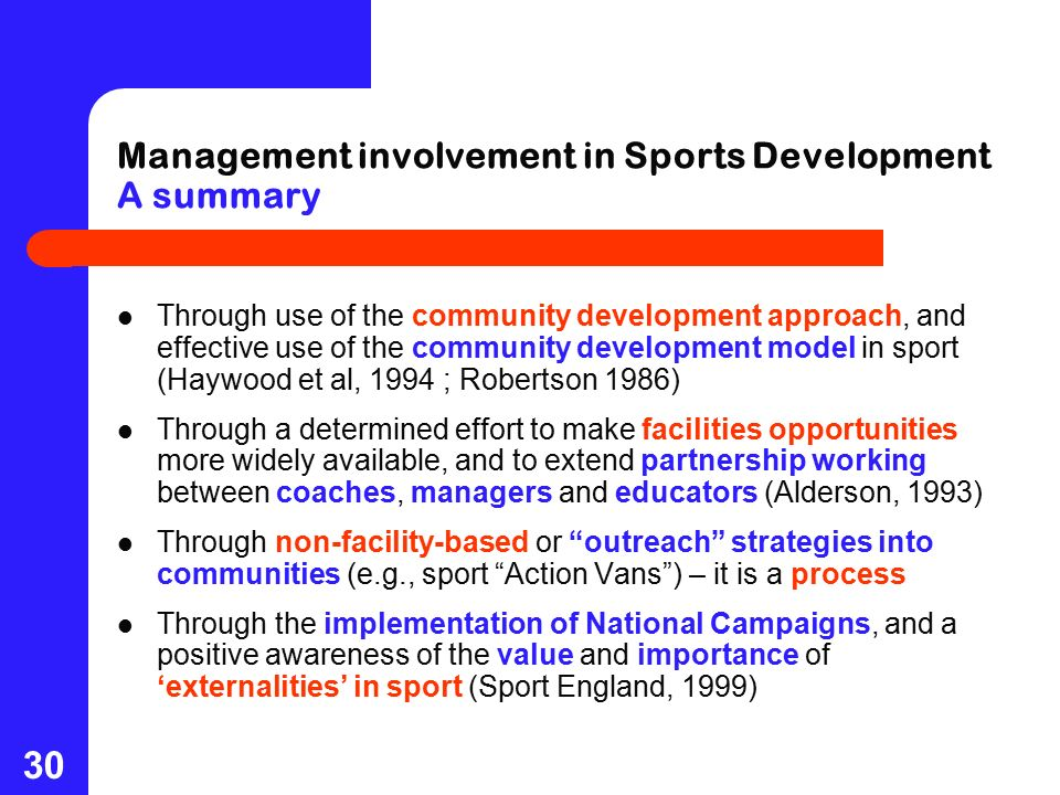 management of sport development Study msc in sport policy, management & international development at the university of edinburgh.