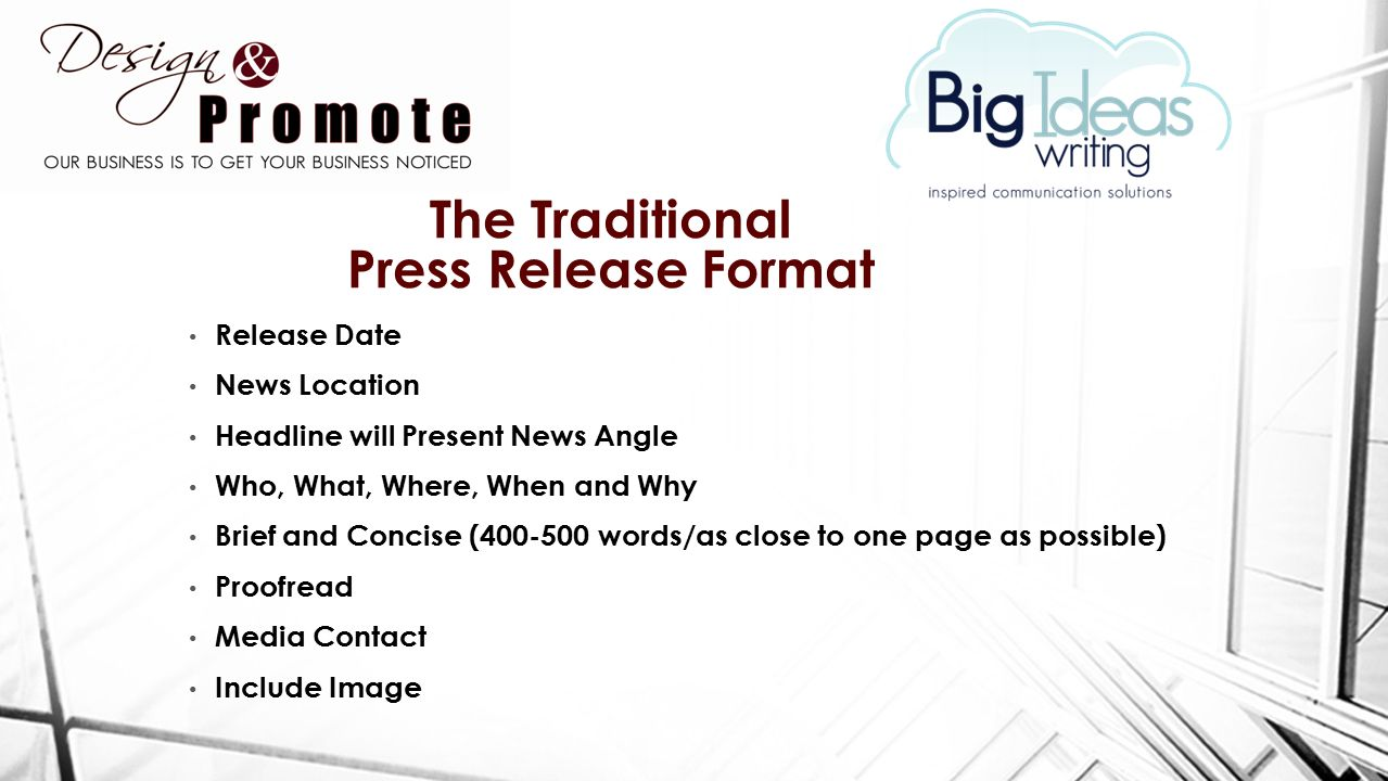 The power of a press release ppt download for Press release brief template