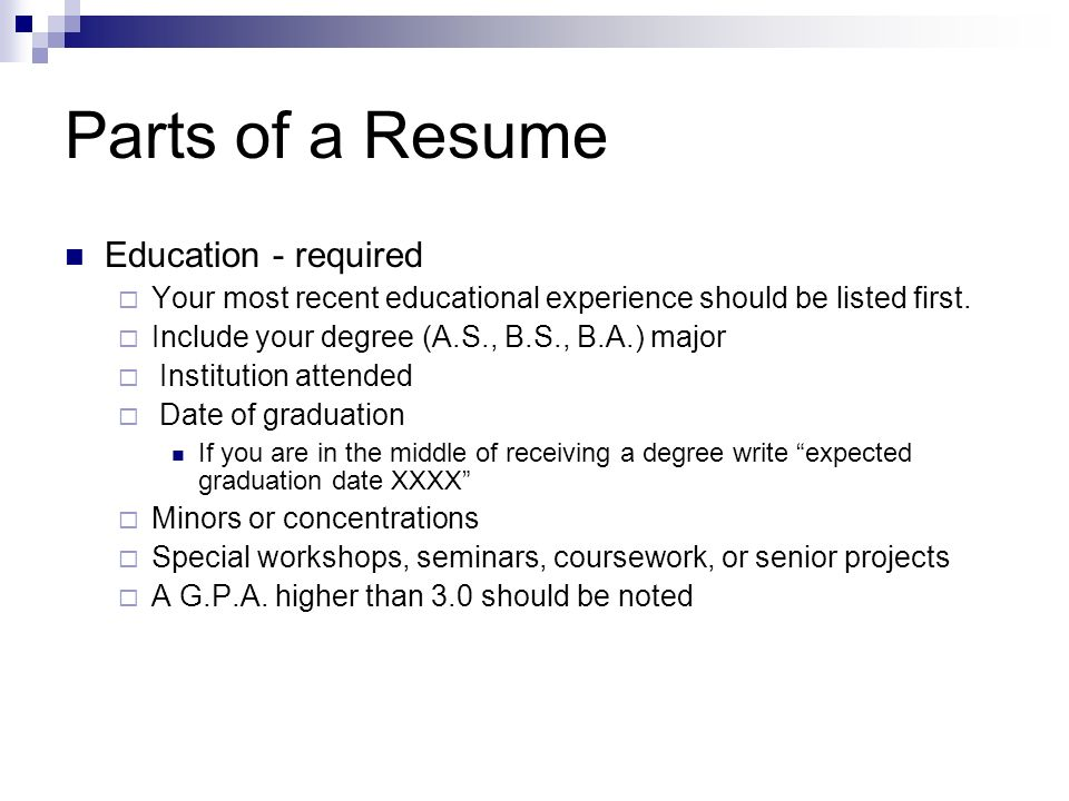 parts of a resume education required - How To Write Your Degree On Resume
