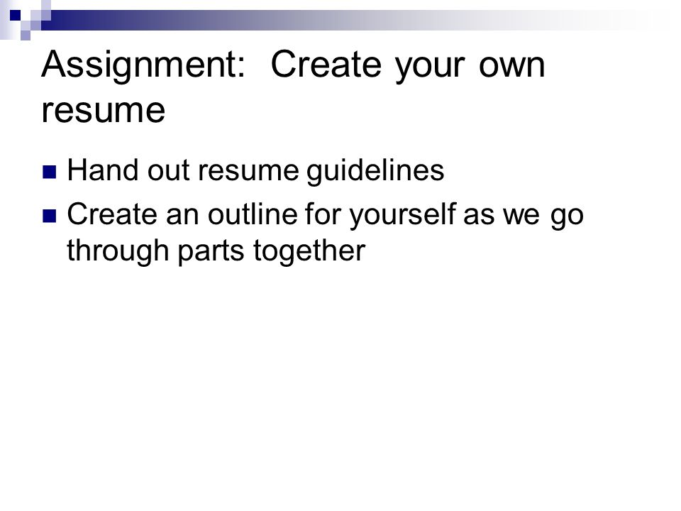 assignment create your own resume