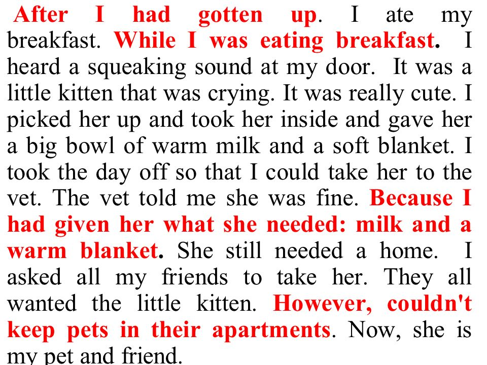 After I had gotten up. I ate my breakfast. While I was eating breakfast. I heard a squeaking sound at my door. It was a little kitten that was crying. It was really cute. I picked her up and took her inside and gave her a big bowl of warm milk and a soft blanket. I took the day off so that I could take her to the vet. The vet told me she was fine. Because I had given her what she needed: milk and a warm blanket. She still needed a home. I asked all my friends to take her.