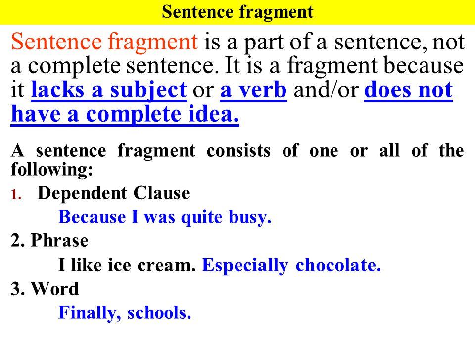 avoiding sentence fragments