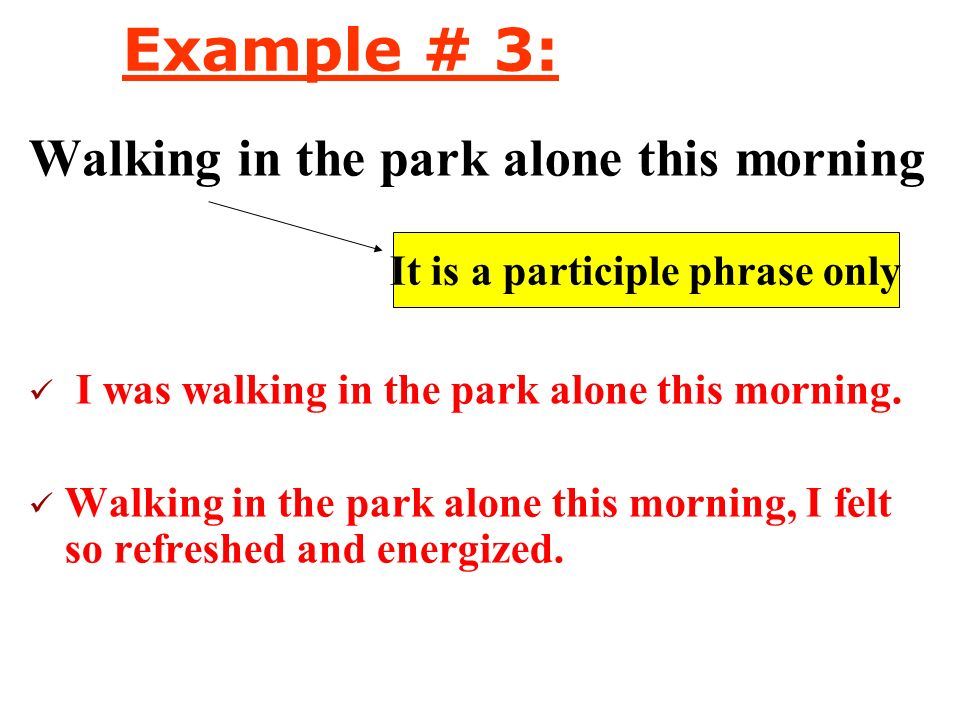 It is a participle phrase only