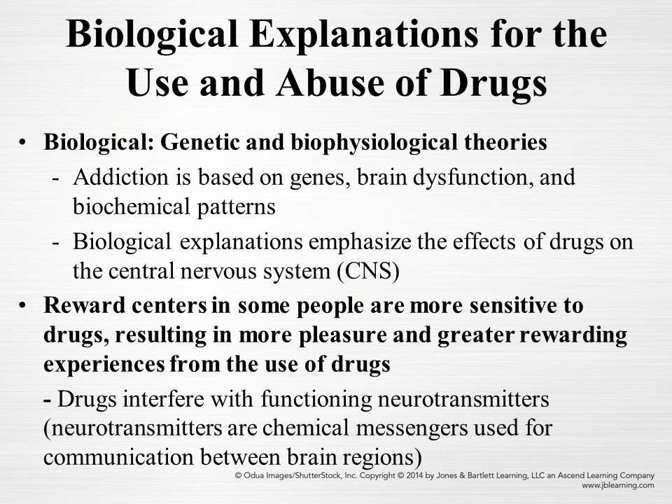 neurological theories of drug abuse A identify key concepts and variables associated with the development of alcoholism and alcohol abuse, and to examine the natural history of alcoholism across the life span b become familiar with selected developmental models that highlight a variety of mechanisms believed to influence a person's risk for developing an alcohol use disorder.