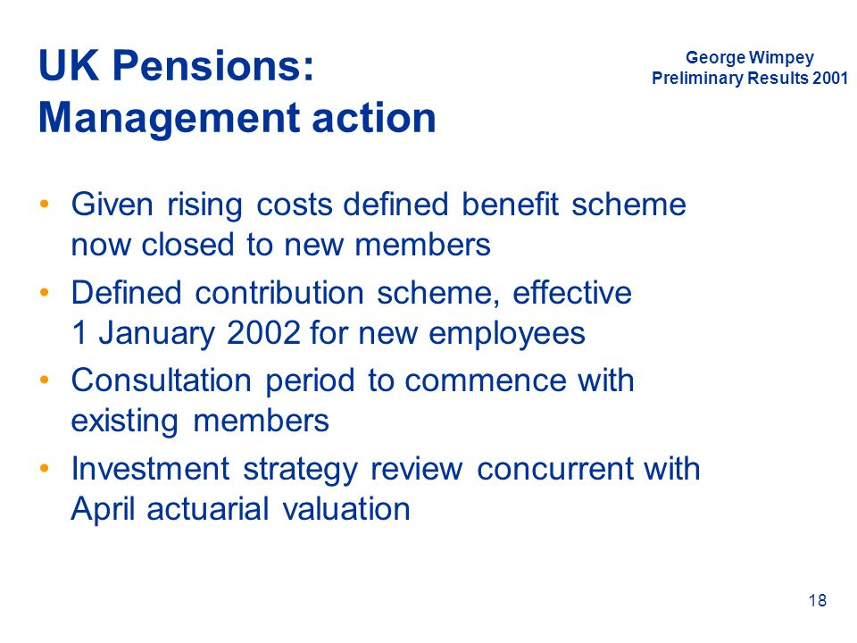 UK Pensions: Management action