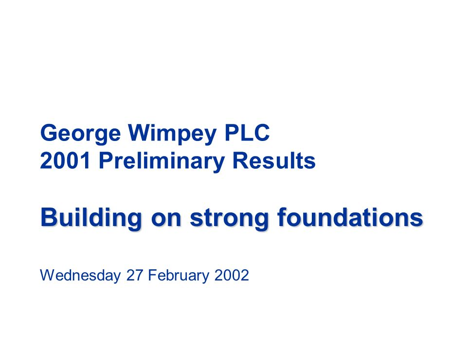 George Wimpey PLC 2001 Preliminary Results