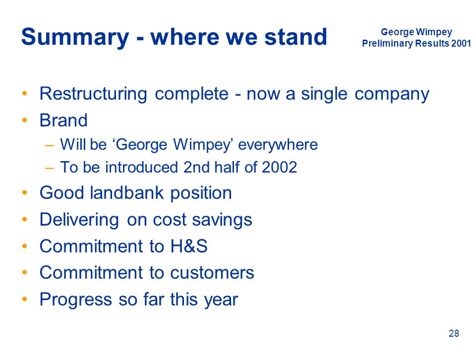 Summary - where we stand