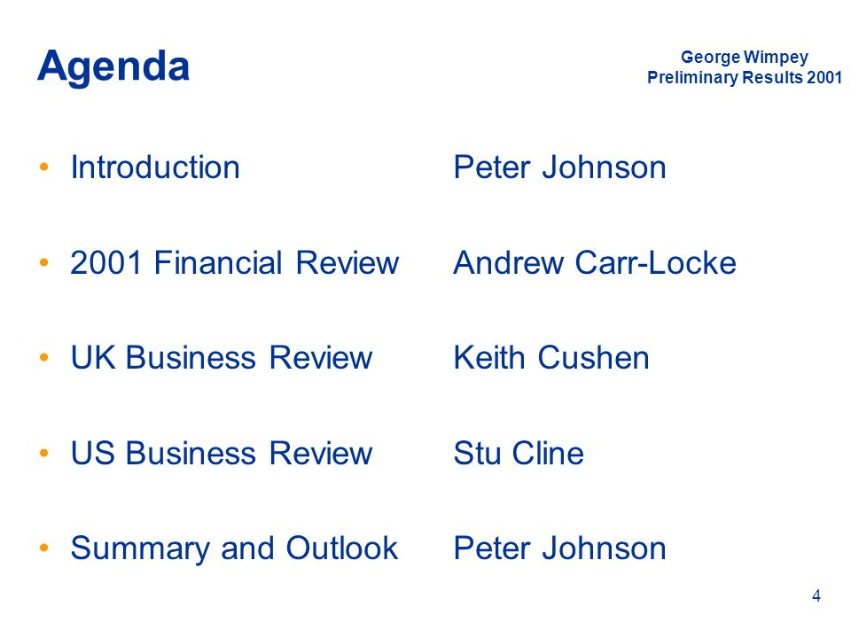 Agenda Introduction 2001 Financial Review UK Business Review