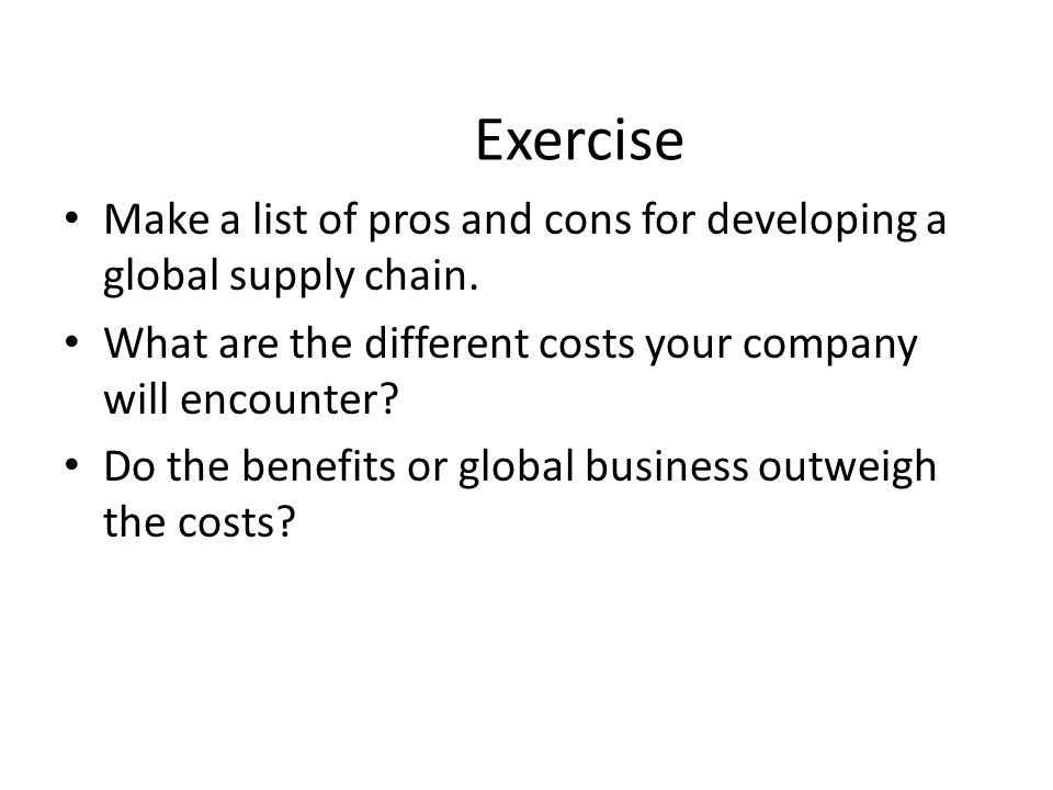 exercise supply chain Within the world of procurement and supply chain management, permanent and inflexible procedures abound the main challenge for most buyers is the exercise.