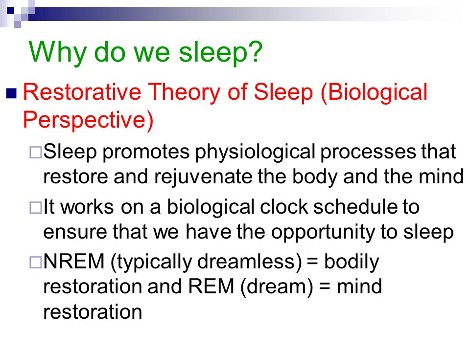 oswalds theory of the restoration of sleep function This is a video tutorial for a2 students studying a level psychology (aqa spec a) the tutorial outlines the restoration explanation of the functions of sleep.