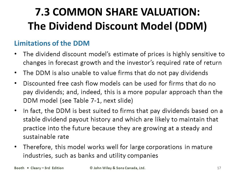 use and limitations of dividend discount model Using a modified dividend discount model for stock market games geungu yu,  by summarizing the benets and limitations of.