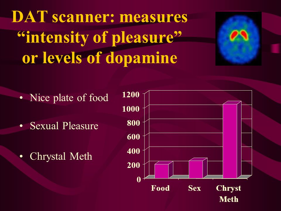 DAT scanner: measures intensity of pleasure or levels of dopamine
