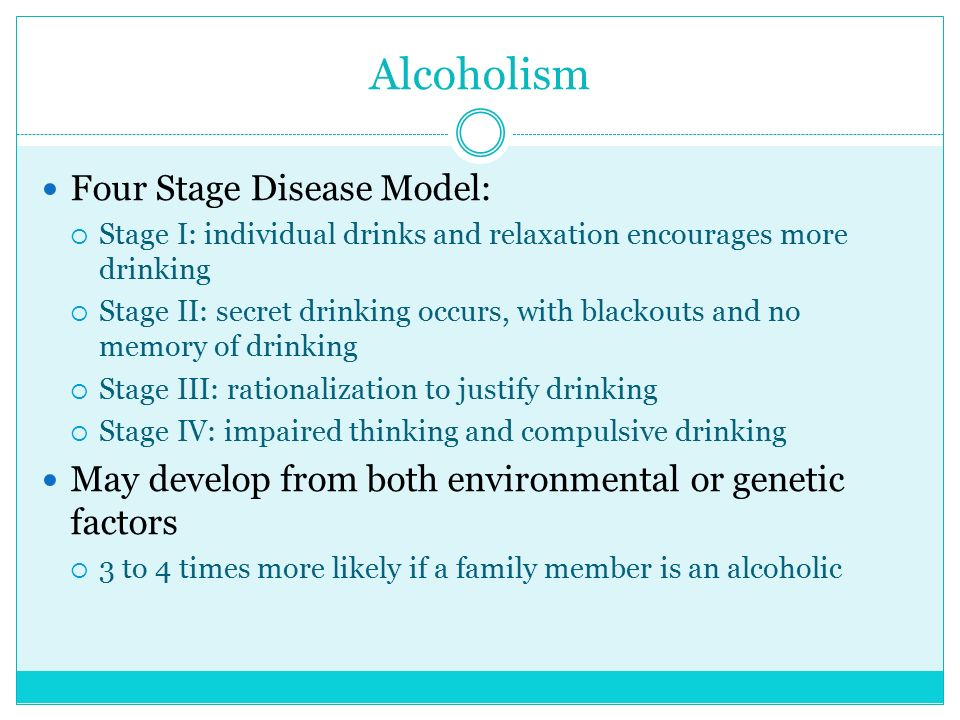 Alcoholism Four Stage Disease Model: