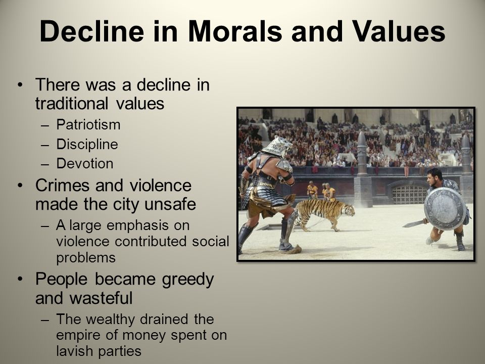 decline in moral values speech Of the six items tested, decline in moral values ranked at the top of the list it was  cited as the top item on the most-alarming list by 25% of.