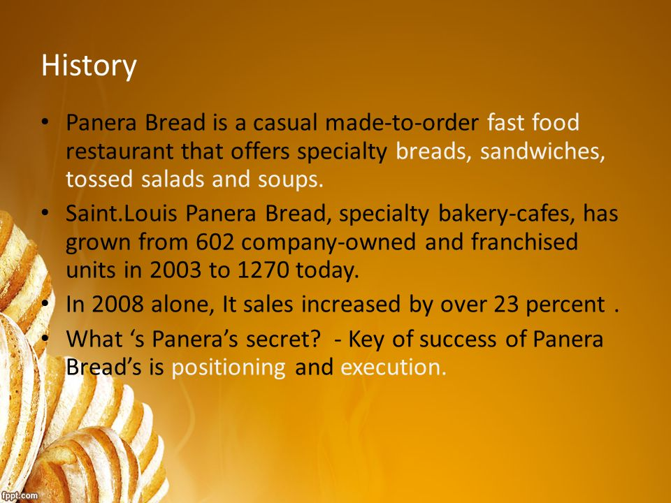 panera bread 2 essay The future growth of panera bread will be based upon company bakery-cafe  development as well as the continued sale of franchise area development.