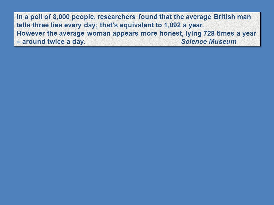 In a poll of 3,000 people, researchers found that the average British man tells three lies every day; that s equivalent to 1,092 a year.