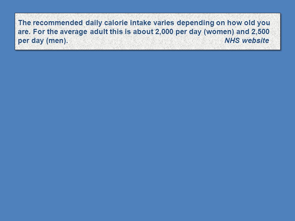The recommended daily calorie intake varies depending on how old you are.