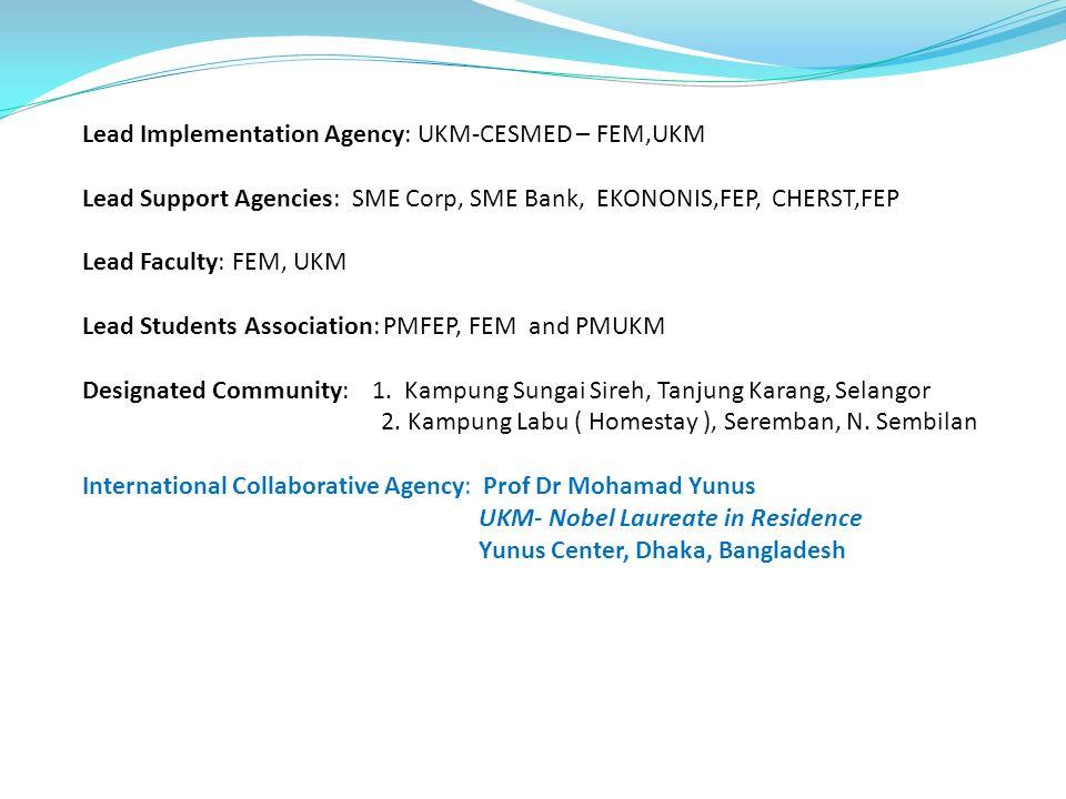 Lead Implementation Agency: UKM-CESMED – FEM,UKM