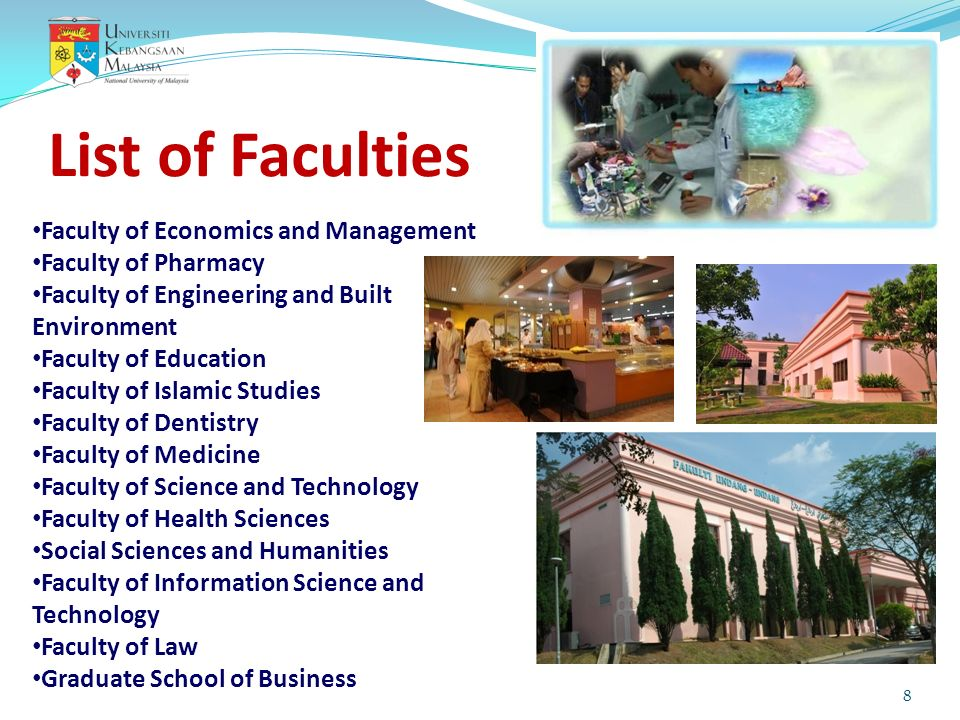 List of Faculties Faculty of Economics and Management