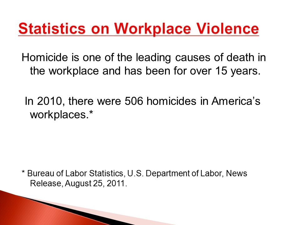 an analysis of the statistics for workplace violence behavior and characteristics Personality is a relatively stable set of characteristics that influence an individual's behavior these personalities need to be understood so that the company can use their observable traits and skills in the correct job or avenue persa also will be able to motivate and train her new employees better if she has a picture of their personality.
