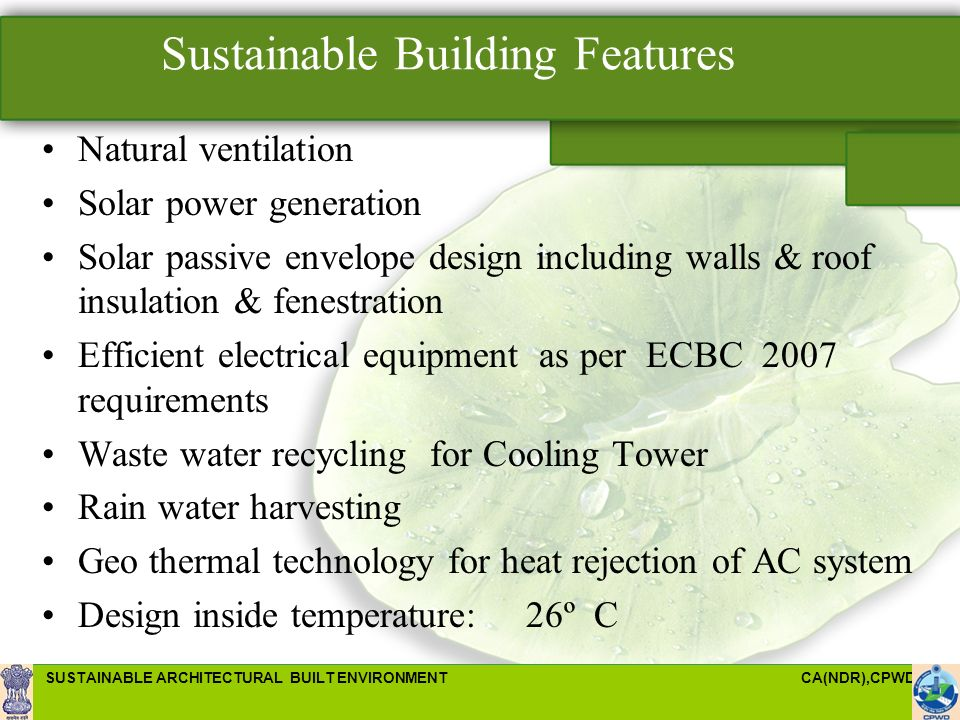 Sustainable architectural built environment ppt video for Green building features checklist