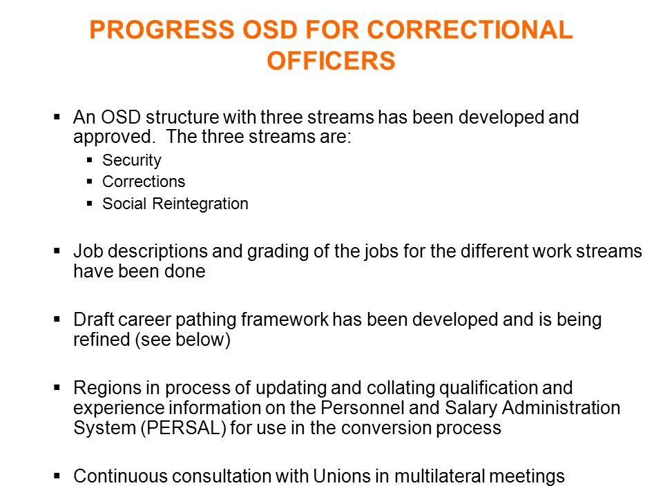 PROGRESS OSD FOR CORRECTIONAL OFFICERS