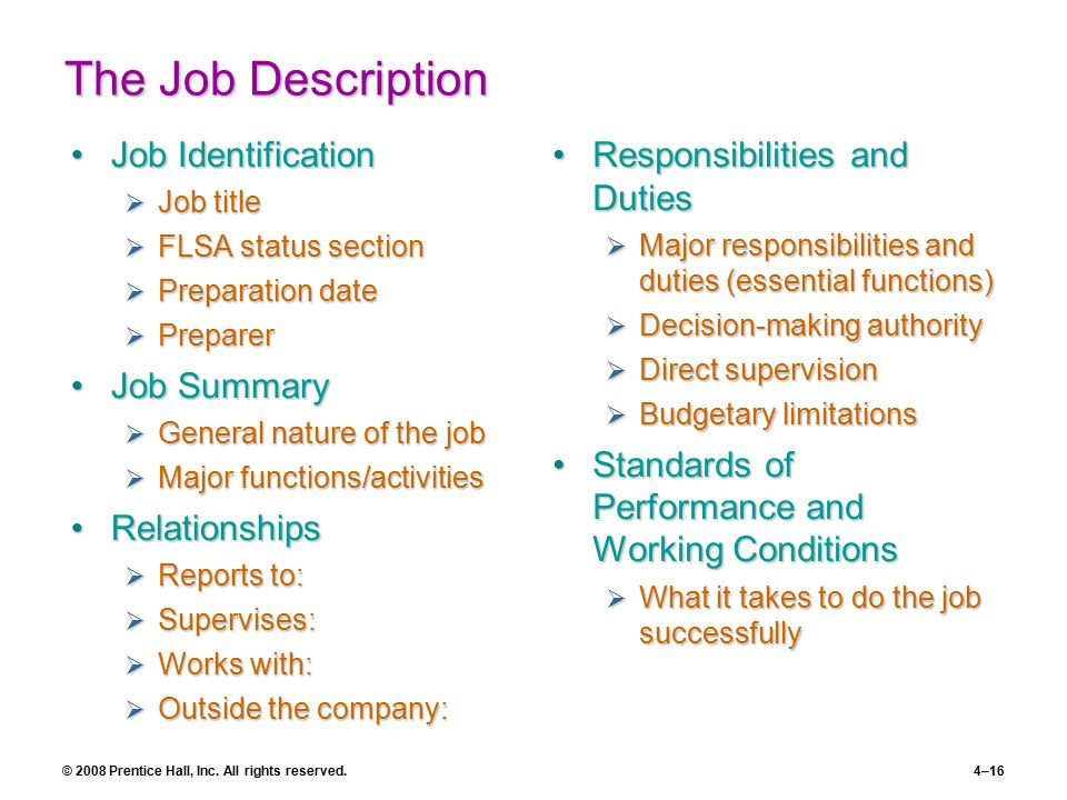 the job description job identification job summary relationships