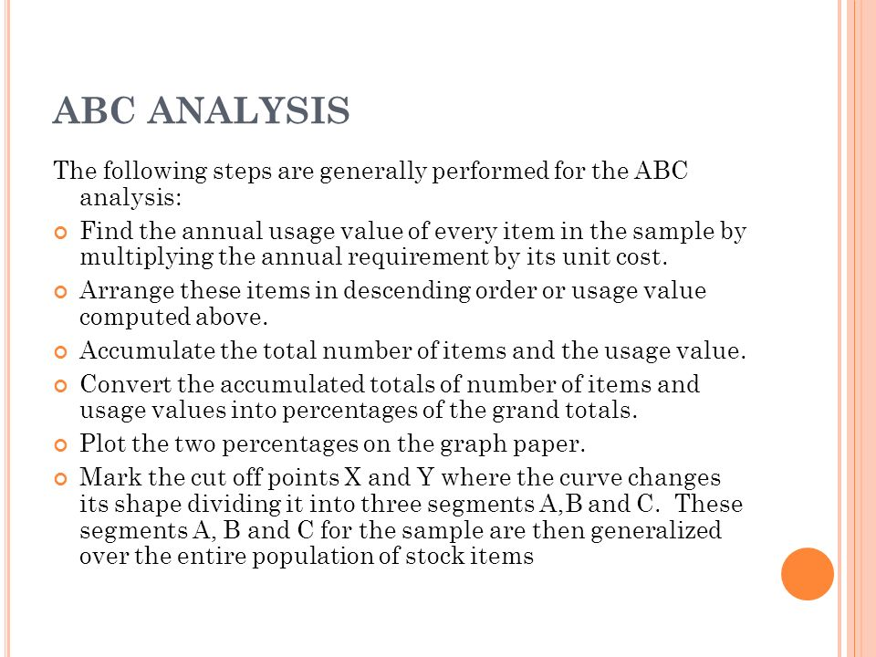 the abc analysis Activity based costing, or abc, is a method of allocating overhead and direct expenses related to the most important activities of your company first this process allows owners and managers an .