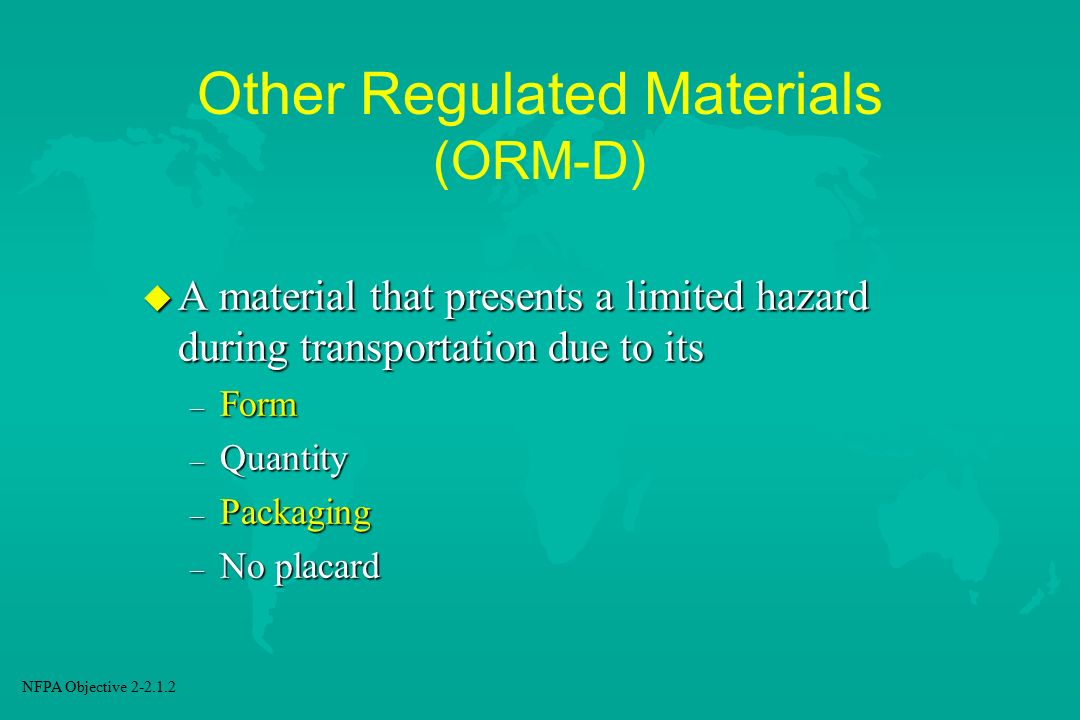 Other Regulated Materials (ORM-D)