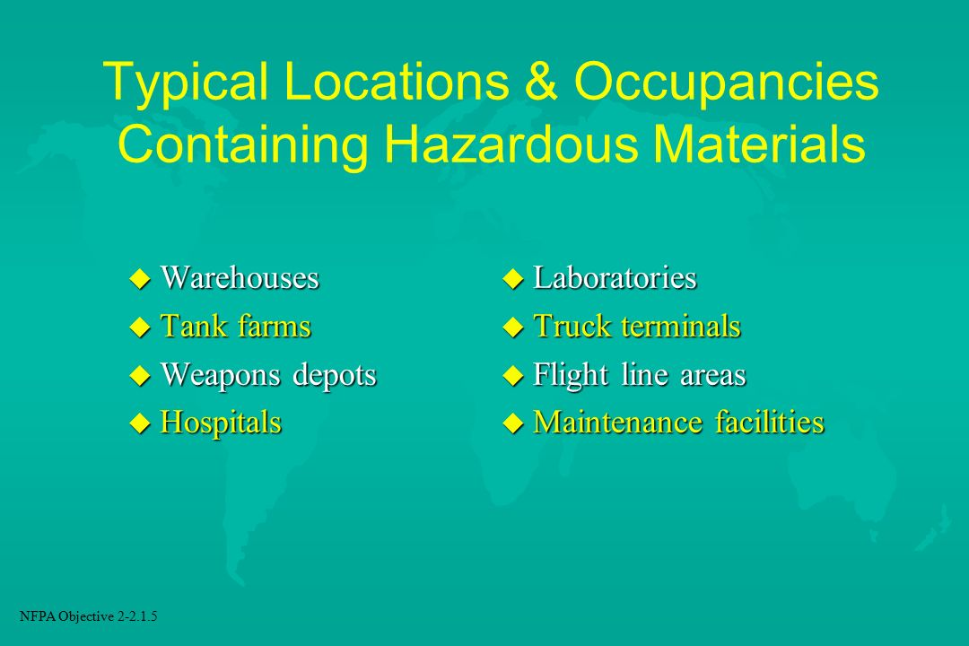 Typical Locations & Occupancies Containing Hazardous Materials