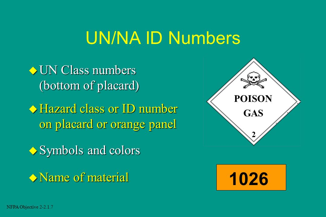 UN/NA ID Numbers 1026 UN Class numbers (bottom of placard)