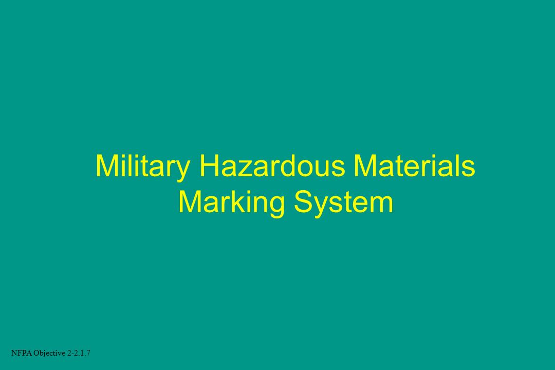 Military Hazardous Materials Marking System