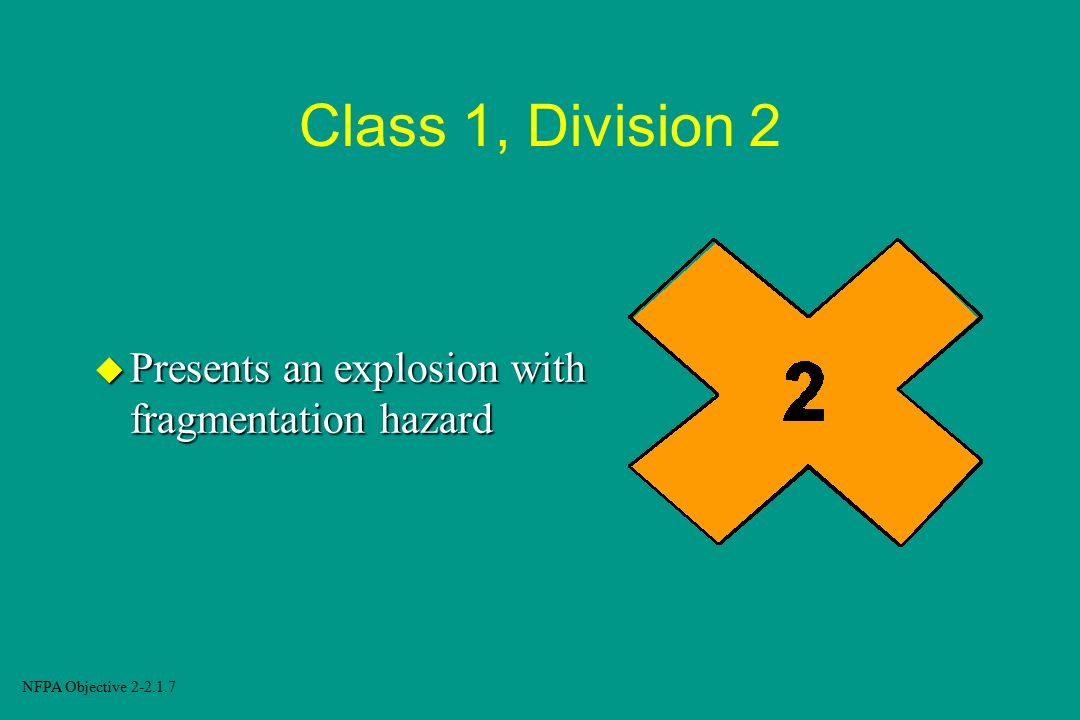 Class 1, Division 2 Presents an explosion with fragmentation hazard