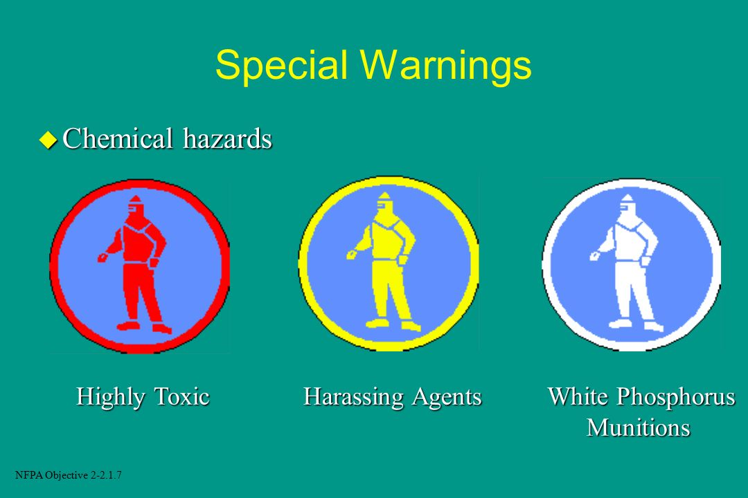 Special Warnings Chemical hazards Highly Toxic Harassing Agents