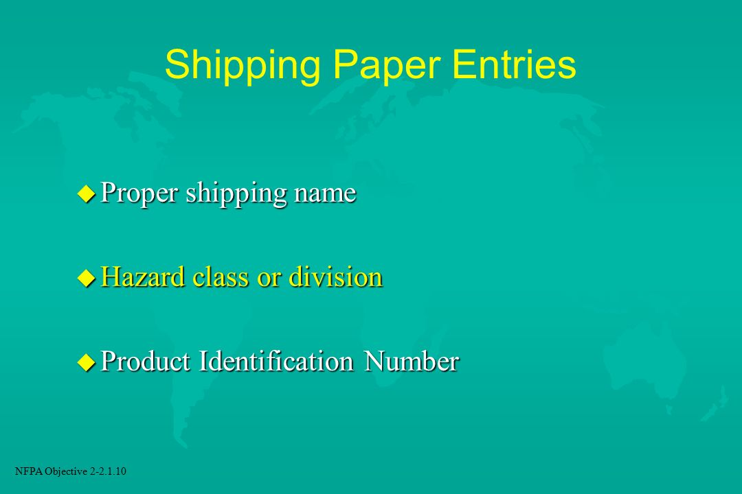 Shipping Paper Entries