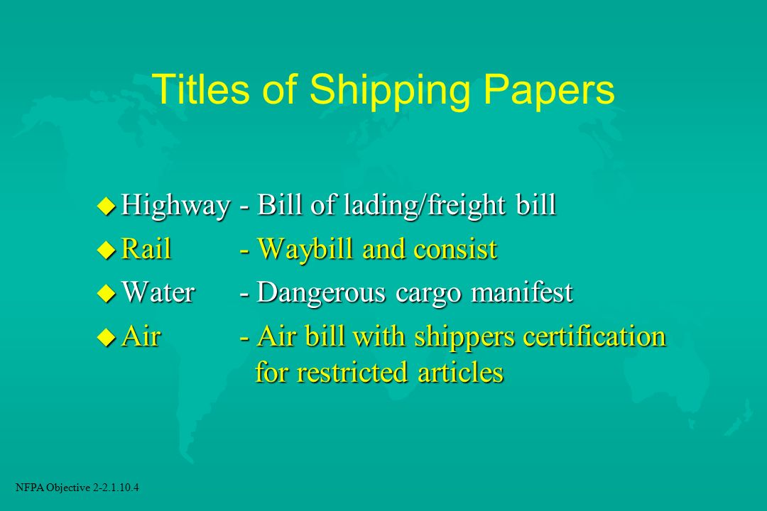 Titles of Shipping Papers