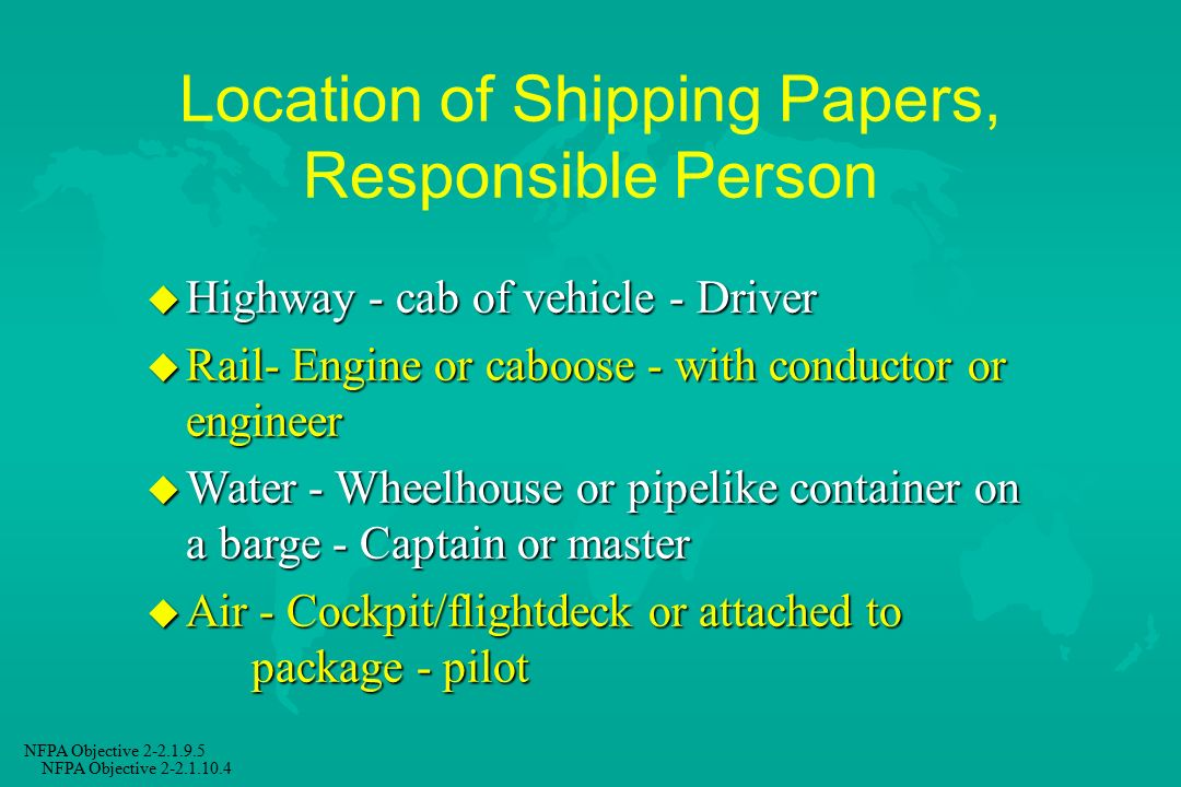 Location of Shipping Papers, Responsible Person
