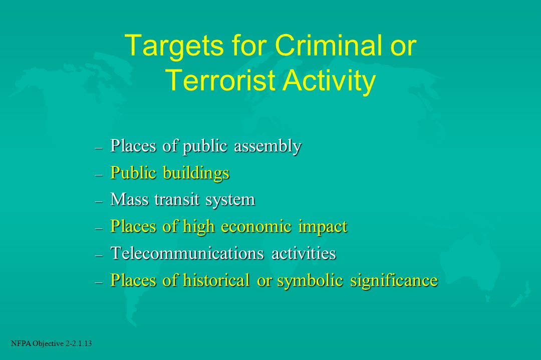 Targets for Criminal or Terrorist Activity