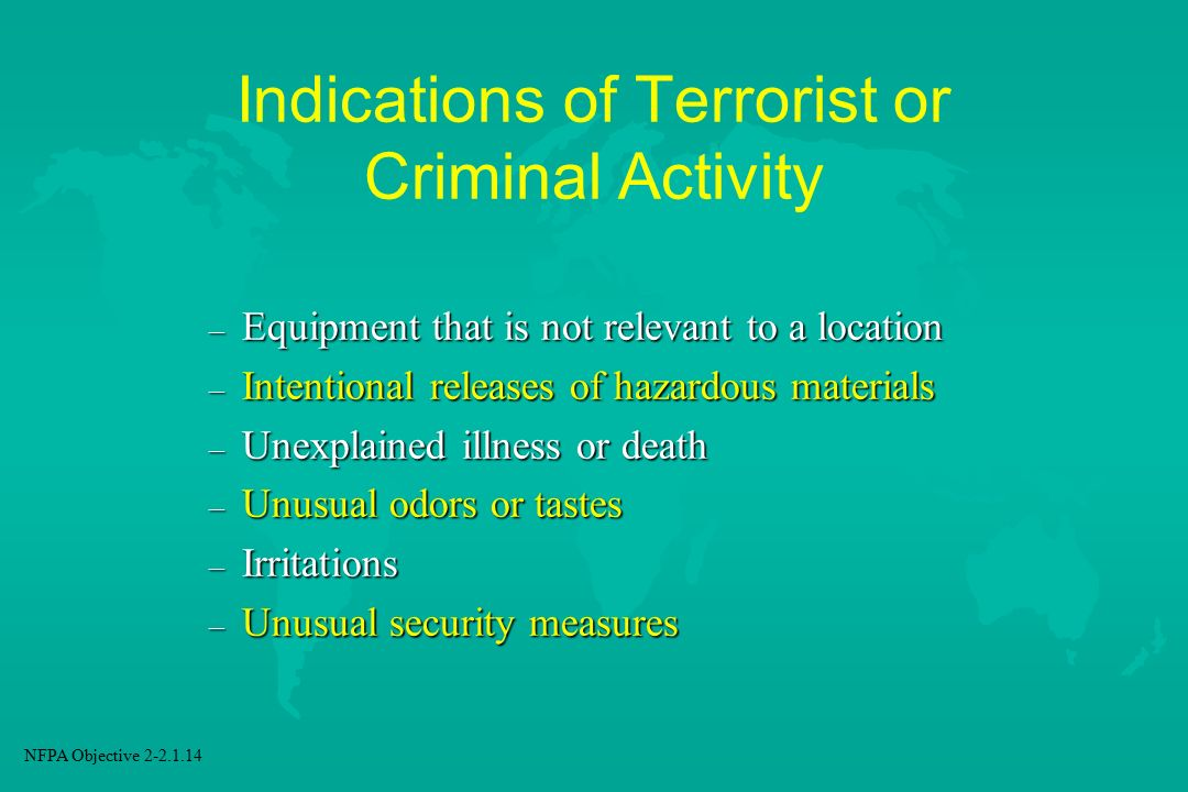 Indications of Terrorist or Criminal Activity
