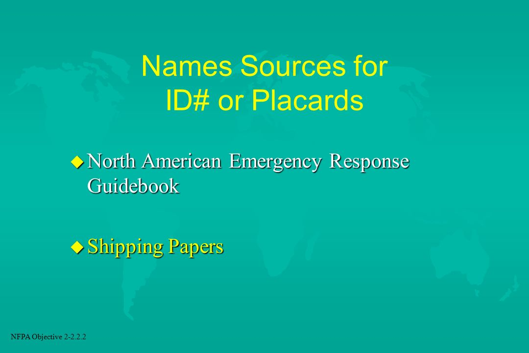 Names Sources for ID# or Placards