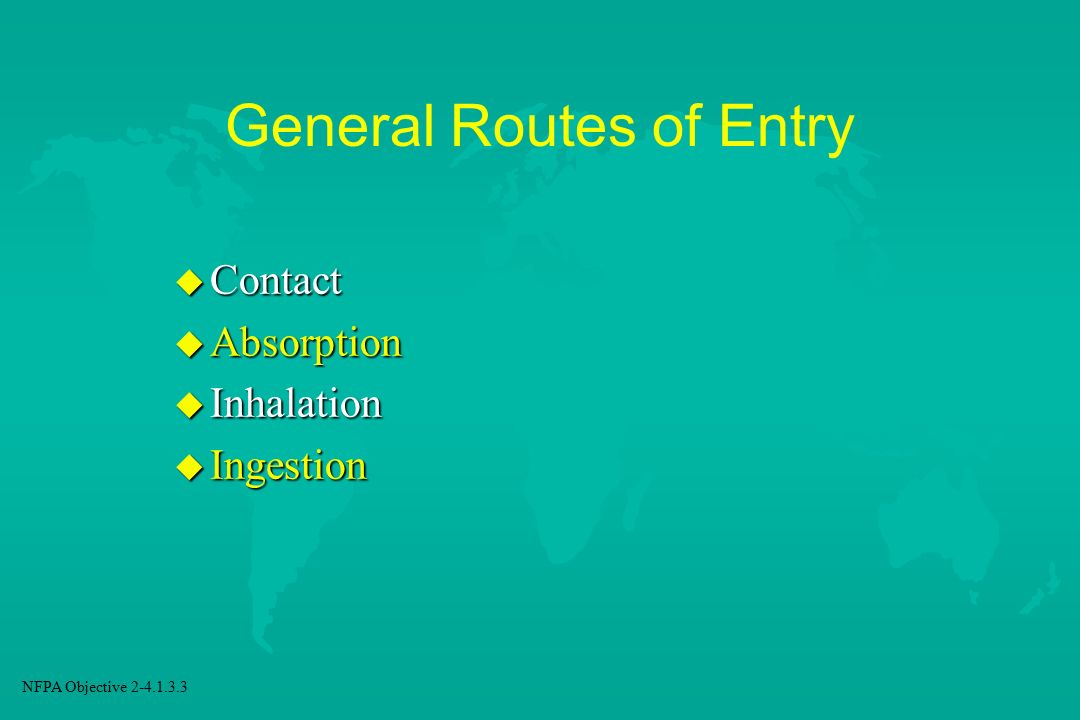 General Routes of Entry