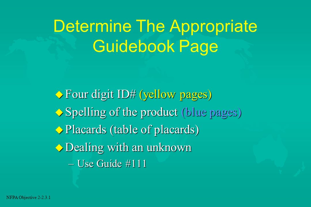Determine The Appropriate Guidebook Page