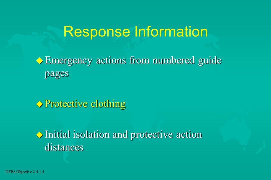 Response Information Emergency actions from numbered guide pages