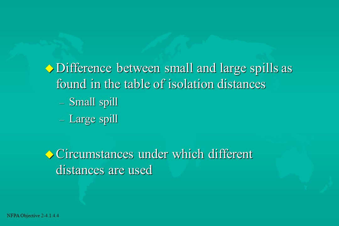 Circumstances under which different distances are used