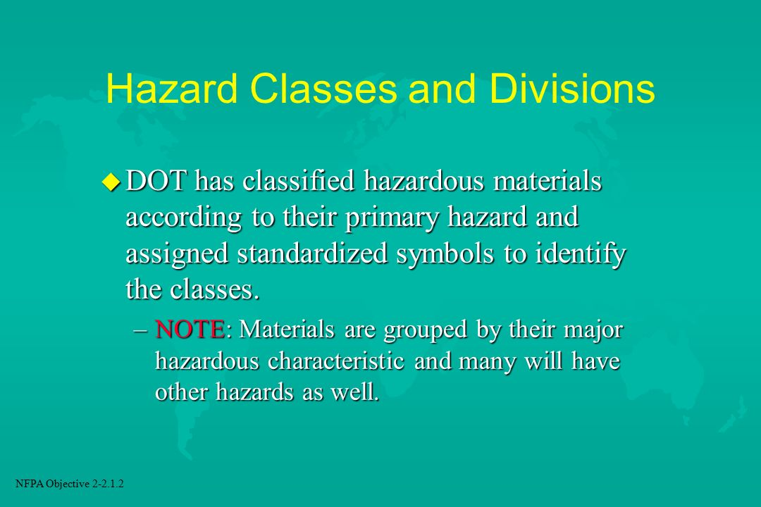 Hazard Classes and Divisions